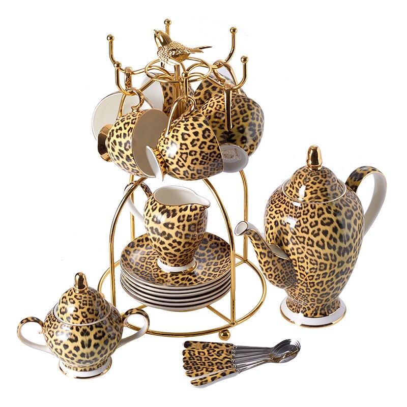 Leopard Print Bone China Coffee Set Luxury Porcelain Tea Set Advanced Pot Cup Ceramic Mug Sugar Bowl Creamer Teapot Drinkware