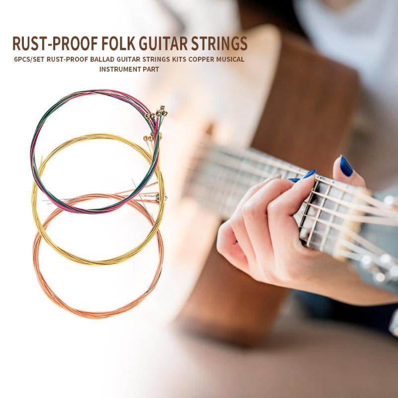 Durable Guitar Strings Replacement Strings Instruments Parts Copper Rust-proof Folk Guitar Strings Kits for Ballad Guitar
