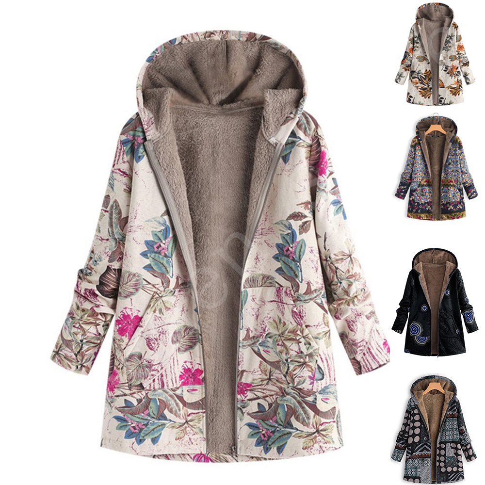 Women's Autumn Jacket Women Female Windbreaker Leather Jacket  Coat Floral Print Hooded Pockets Vintage Coats Herbst Jacke Damen