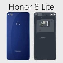 Para huawei honor 8 lite capa traseira da bateria de vidro substituição porta para honor 8 lite PRA LA1 PRA LX1 PRA LX3 caso capa traseira