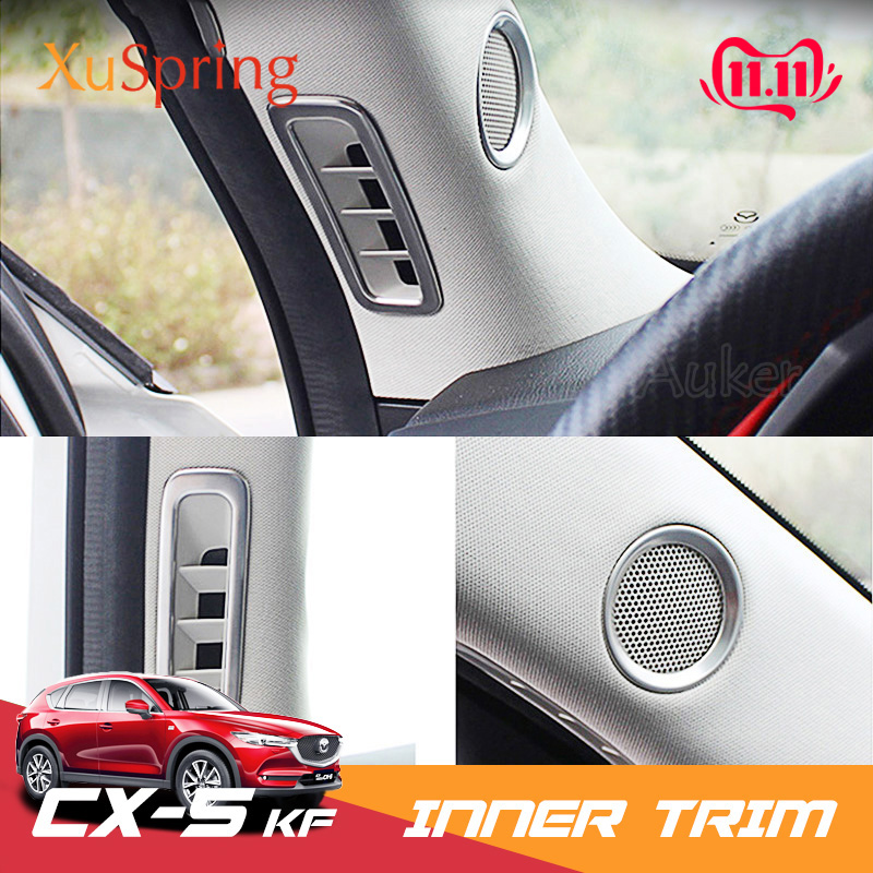 Car A Pillar Air Outlet Speaker Bezel Trim Ring Frame Stickers Inner Garnish Styling For Mazda <font><b>CX</b></font>-<font><b>5</b></font> CX5 2017 <font><b>2018</b></font> 2019 KF image