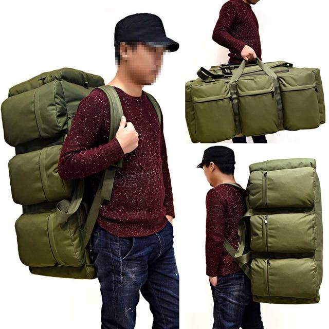 90L Large Capacity Men's Travel Bags Canvas Military Tactical Backpack Waterproof Hiking Climbing Camping Rucksack Bags XA216K 3