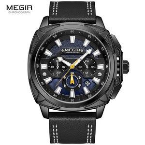 Image 2 - MEGIR 새로운 군사 스포츠 시계 남자 럭셔리 가죽 스트랩 방수 쿼츠 시계 남자 톱 브랜드 크로노 그래프 손목 시계 2128