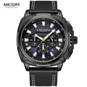 Image 2 - Megir 新軍事スポーツは、男性の高級革ストラップ防水クォーツ時計の男性トップブランドクロノグラフ腕時計 2128
