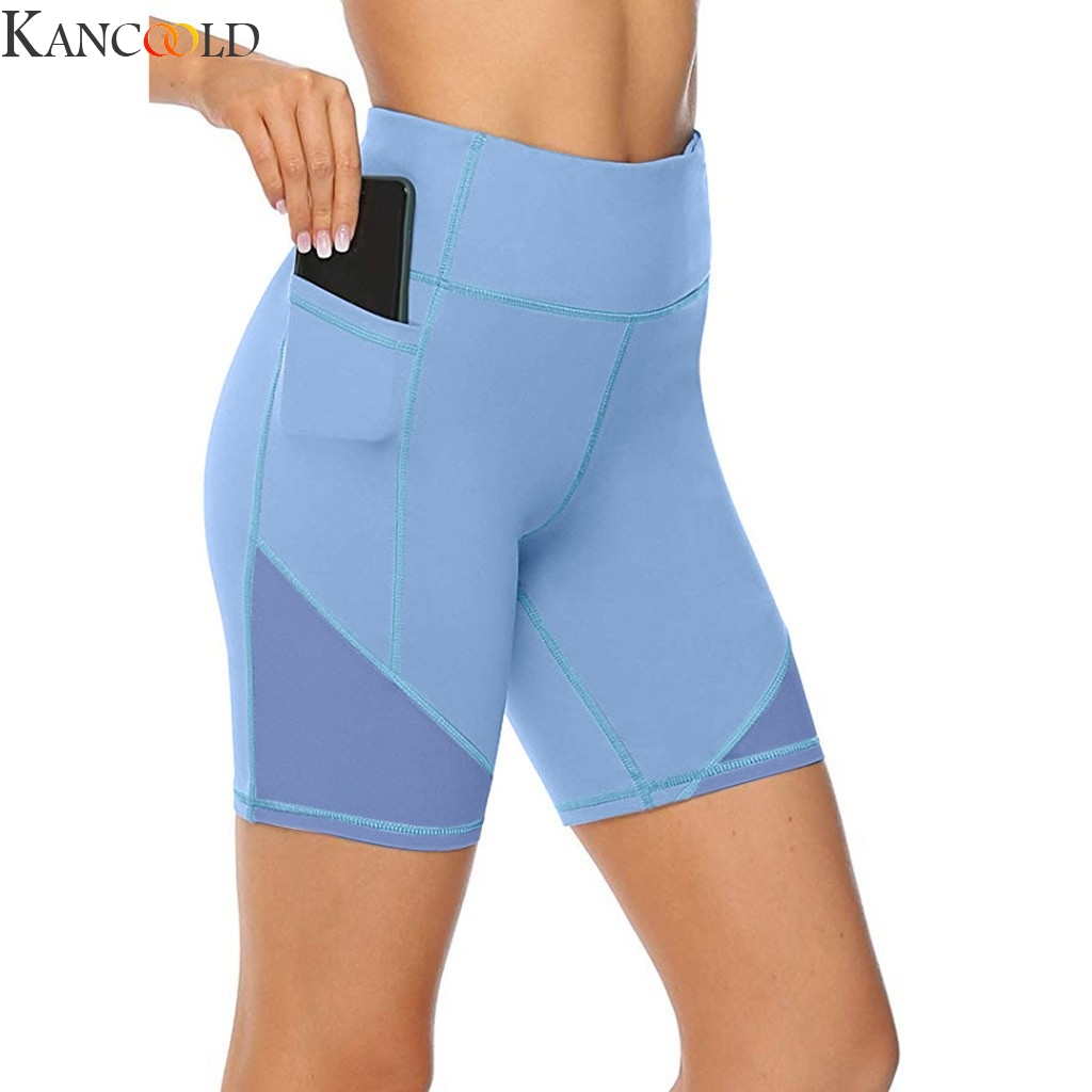 KANCOOLD Women's High Waist Short Abdomen Control Training Running Pants Clothing Solid Color Elastic Breathable
