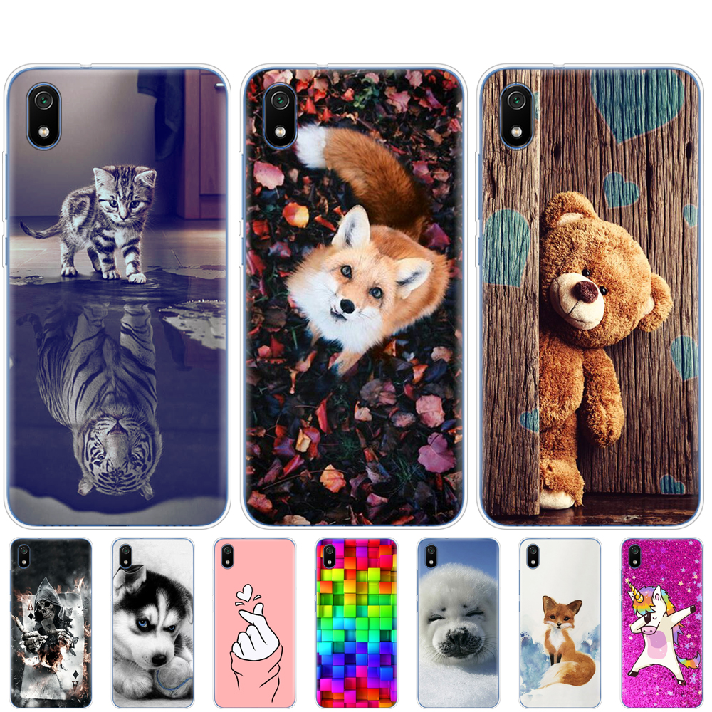 Silicon Case For Xiaomi Redmi 7a Case Full Protection Soft Tpu Back Cover On Redmi 7A Coque Bumper Hongmi 7a Painted Phone Shell