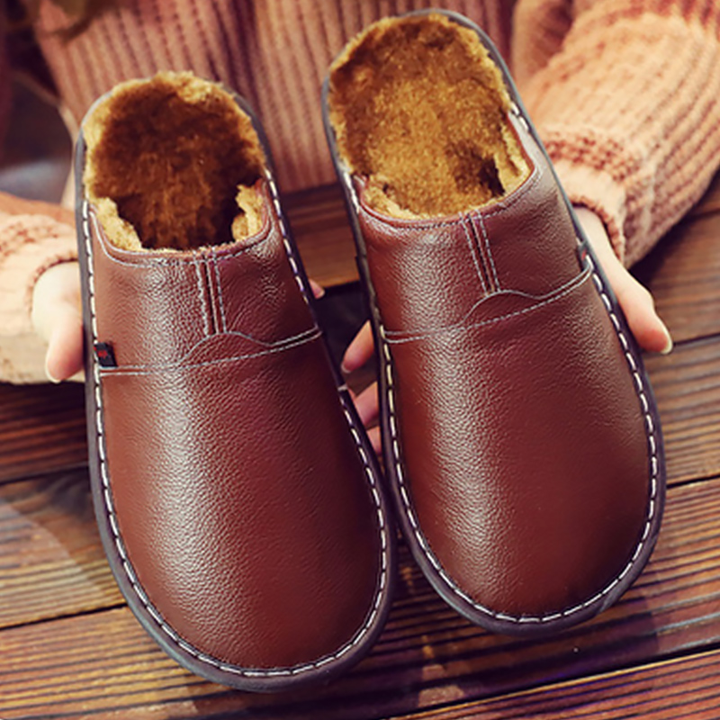 Men's Winter Shoes Superstar Sewing Non Slip Genuine Leather Slippers Men Plush TPR Soft House Slippers Man Solid