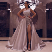 New Detachable Skirt Evening Dresses 2020 One Shoulder Sexy High Slit Formal Prom Dresses Pink Sequins Party Gown Robe De Soiree