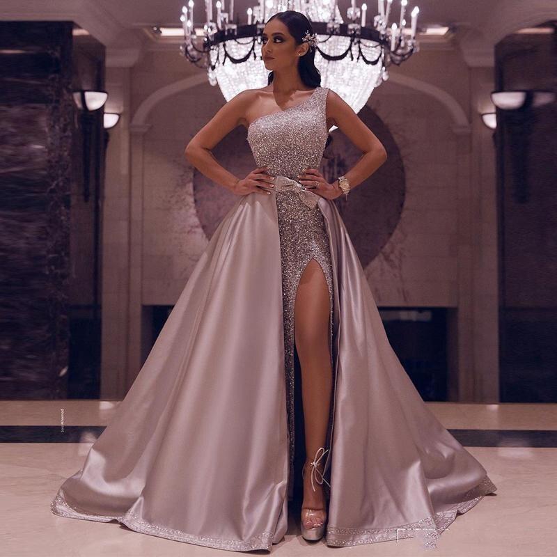 Nouvelle Jupe Détachable Robes de Soirée 2020 Argent Une Épaule Sexy Haute Fente de Bal robes de grande taille Fête Gala Robes