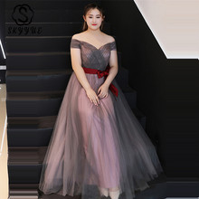 Skyyue Evening Dress Off The Shoulder Short Sleeve Robe De Soiree 2019 Plus Size Women Party Dresses Boat Neck Formal Gowns T104