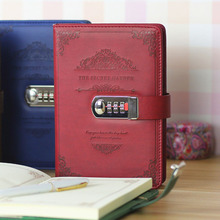 Retro With Lock Password Leather Notepad Agenda 2020 Leather Notebook Stationery