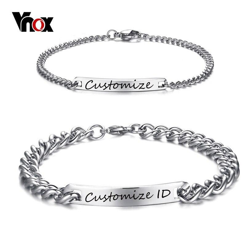 Vnox Freies Gravur Angepasst Paar Versprechen Armband Edelstahl Charm ID Armbänder für Frauen Männer Personalisierte Pulseira