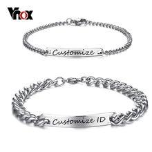 Vnox ücretsiz gravür özelleştirilmiş çift Promise bilezik paslanmaz çelik Charm kimlik bilezikler kadın erkek kişiselleştirilmiş Pulseira