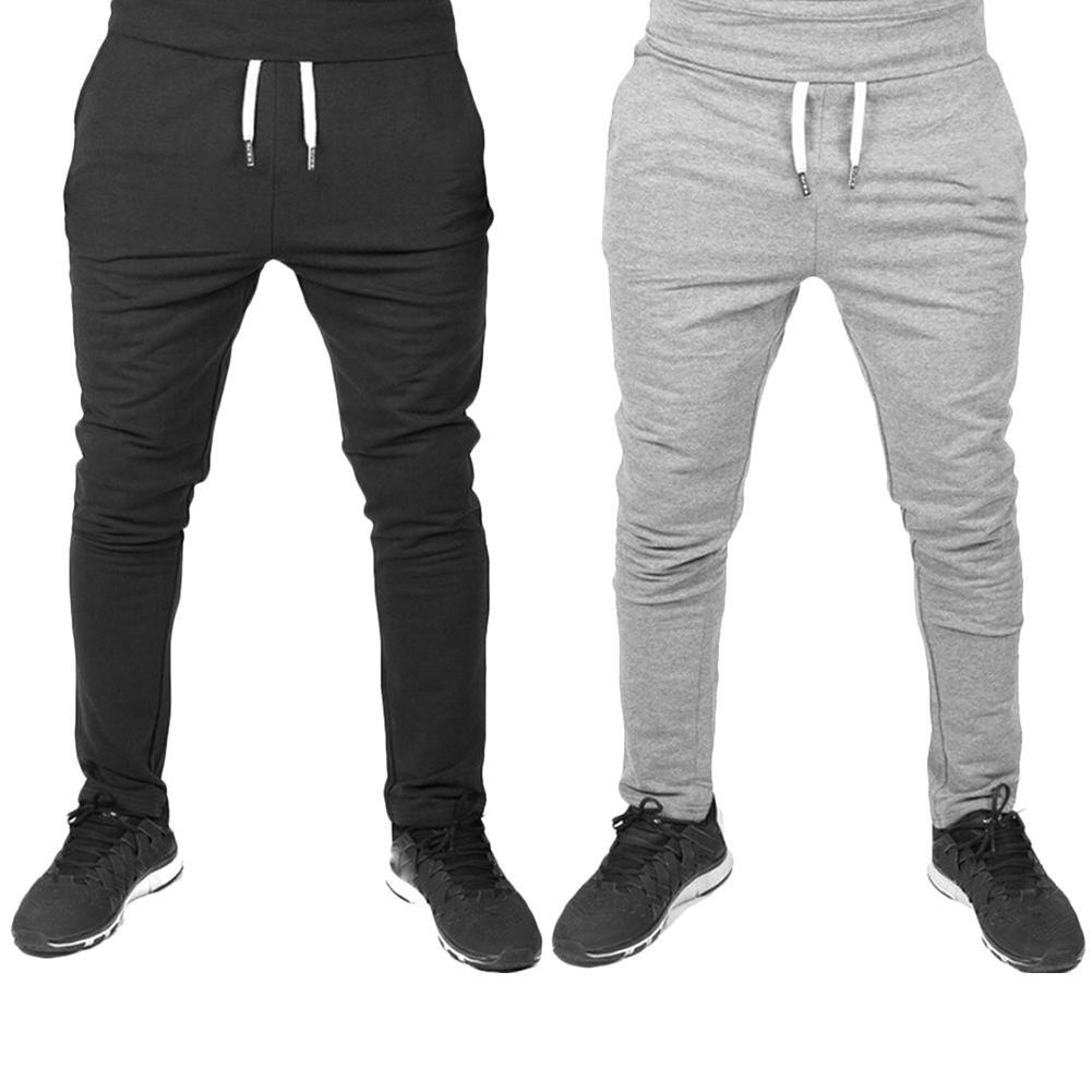 Men Solid Color Sweatpants Elastic Drawstring Trousers Sport Joggers Bottoms Fashion Men Clothing Pant  Hot