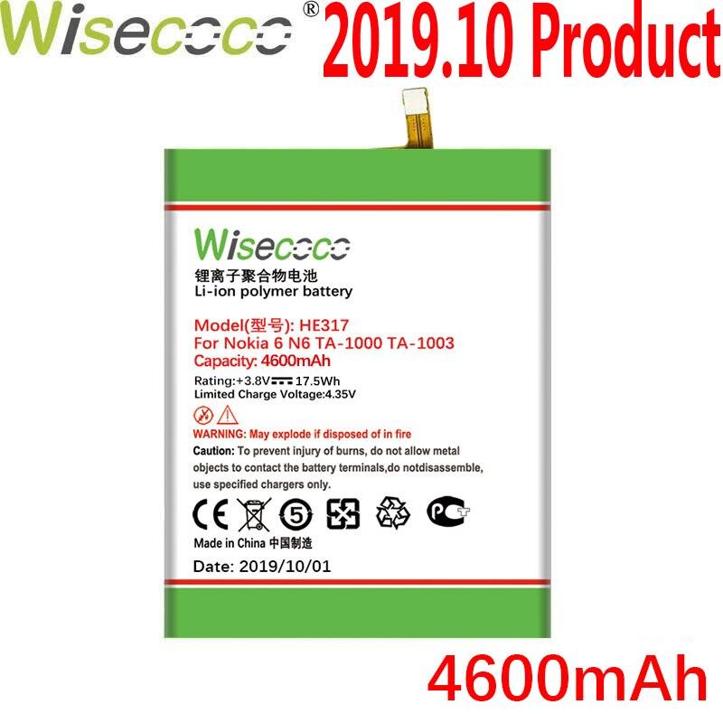 WISECOCO 4600mAh HE317 batterie pour Nokia 6 Nokia6 N6 TA-1000 TA-1003 TA-1021 TA-1025 TA-1033 TA-1039 téléphone avec Code de suivi