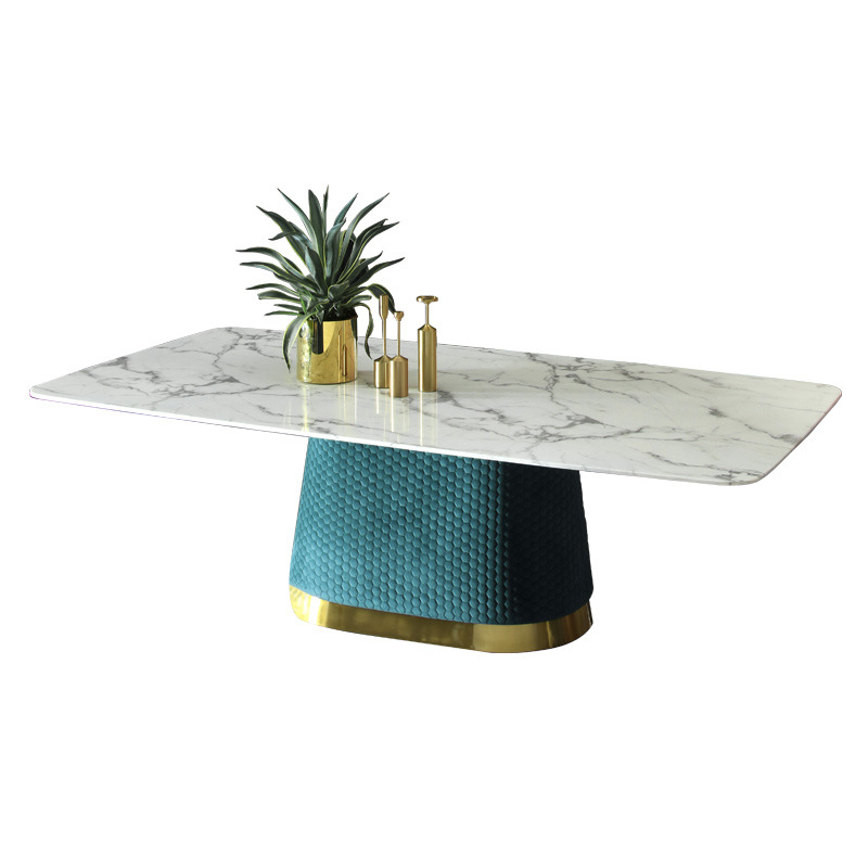Light Luxury Dining Table Simple Modern Fabric Nordic Marble Dining Table And Chair Combination Rect