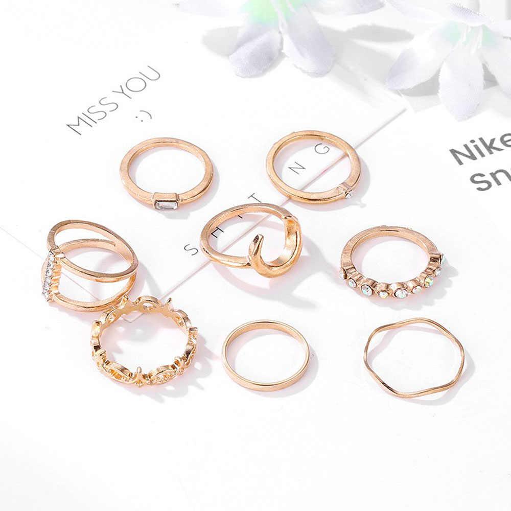 8 sztuk/zestaw elegancki księżyc korona zestaw pierścienie geometryczne pierścień dziewczyny koreański wspólne Knuckle Finger pierścionki biżuteria