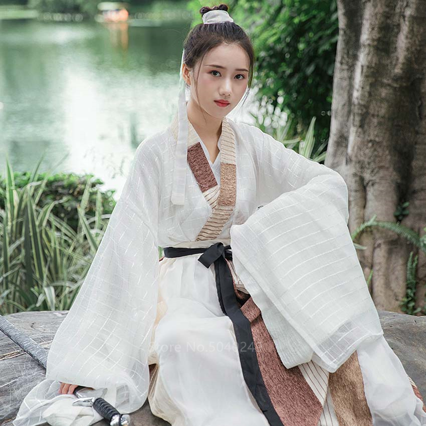 Chinese Traditional Clothing Ancient Princess Folk Dance Costume For Women Girls Performance Dress Hanfu Linen Qing Dynasty Set