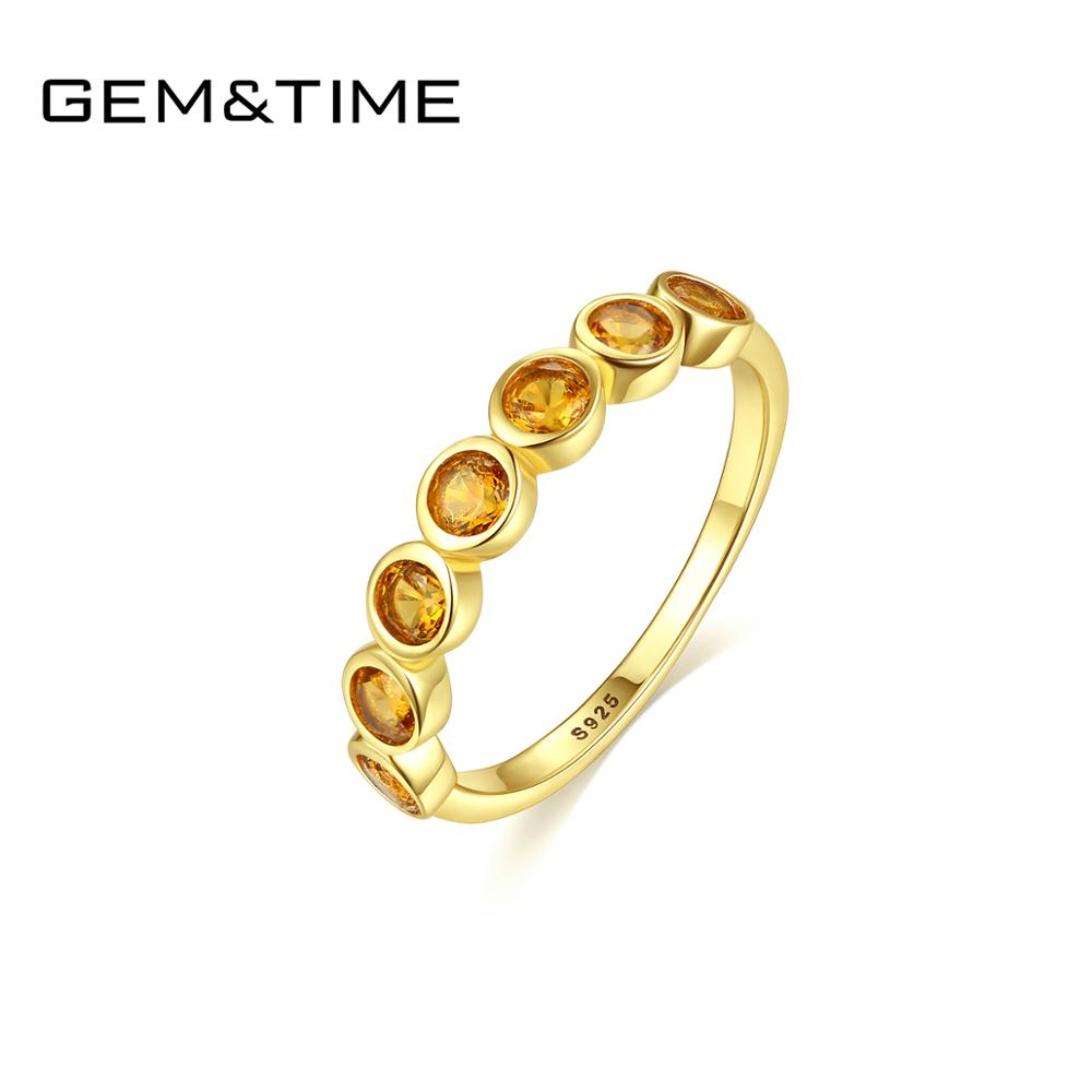 Gem&Time Elegant Sterling 925 Silver Rings Round Citrine Finger Ring For Women Fien Jewelry Gemstone Topaz Wedding Band SR025