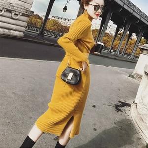 Image 5 - Bodycon סוודר שמלת נשים חורף סוודרים סרוגים ארוך שמלות קוריאני אישה פיצול קפלים שמלות חגורה חורף OL שמלת Vestido