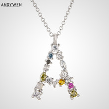 ANDYWEN 925 Sterling Silver 26 Letters Gold Initial Letter A B Pendant Necklace Thin Long Chain Adjustable Mini P G CZ Jewelry
