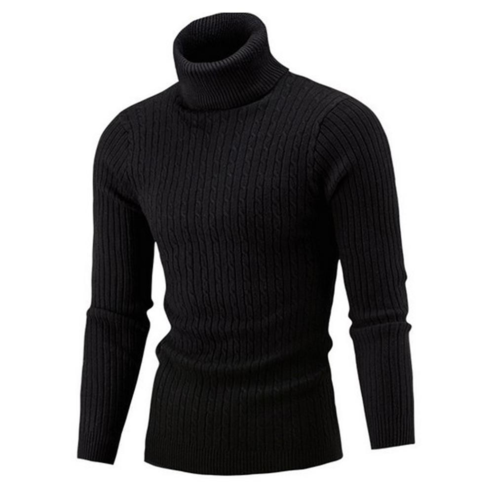 Winter Men's Turtleneck Sweaters Thick Warm High Neck Sweater Mens Sweaters Solid Color Slims Pullover Men Knitwear Male Sweater 2