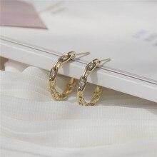 Ins Hot Sale Luxury 14K Real Gold Chain Metal Stud Earrings for Women Cubic Zircon ZC Серьги
