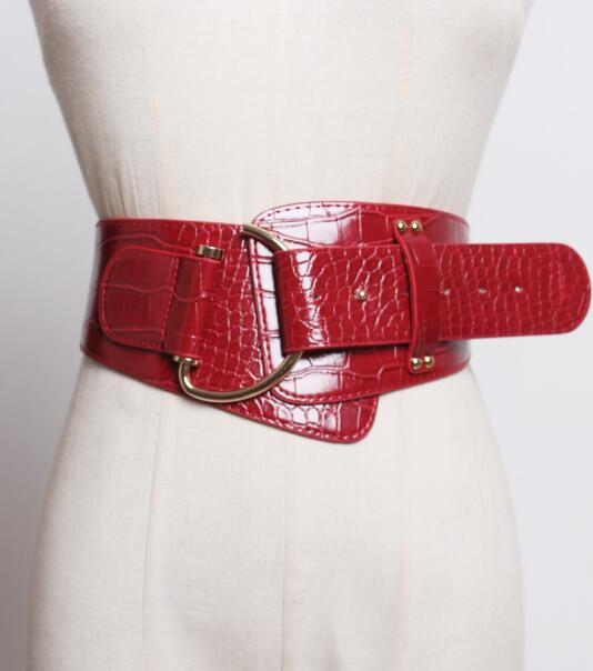 Women's Runway Fashion Crocodile Grain Pu Leather Cummerbunds Female Dress Corsets Waistband Belts Decoration Wide Belt R2405