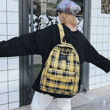 Women Casual Backpack Green Canvas Shoulder Bagpack Zipper Back Pack Harajuku Plaid White Travel Fashion Yellow School Bags Girl
