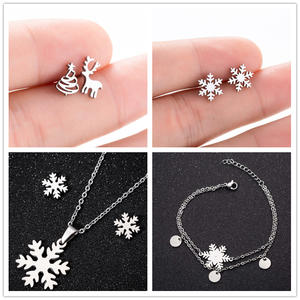 Hfarich Dainty White Snowflake Bracelets Jewelry Sets Classic Lucky Deer&Christmas Tree Steel Earings for Women New Year Gift