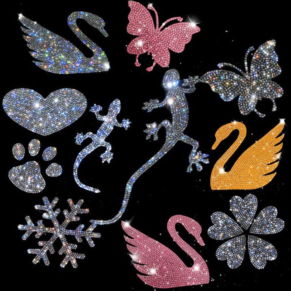 Multiple Styles Car Crystal Full Diamond Inlaid Rhinestone Big Gecko Safe Car Stickers Love Diamond Sticker Docoration