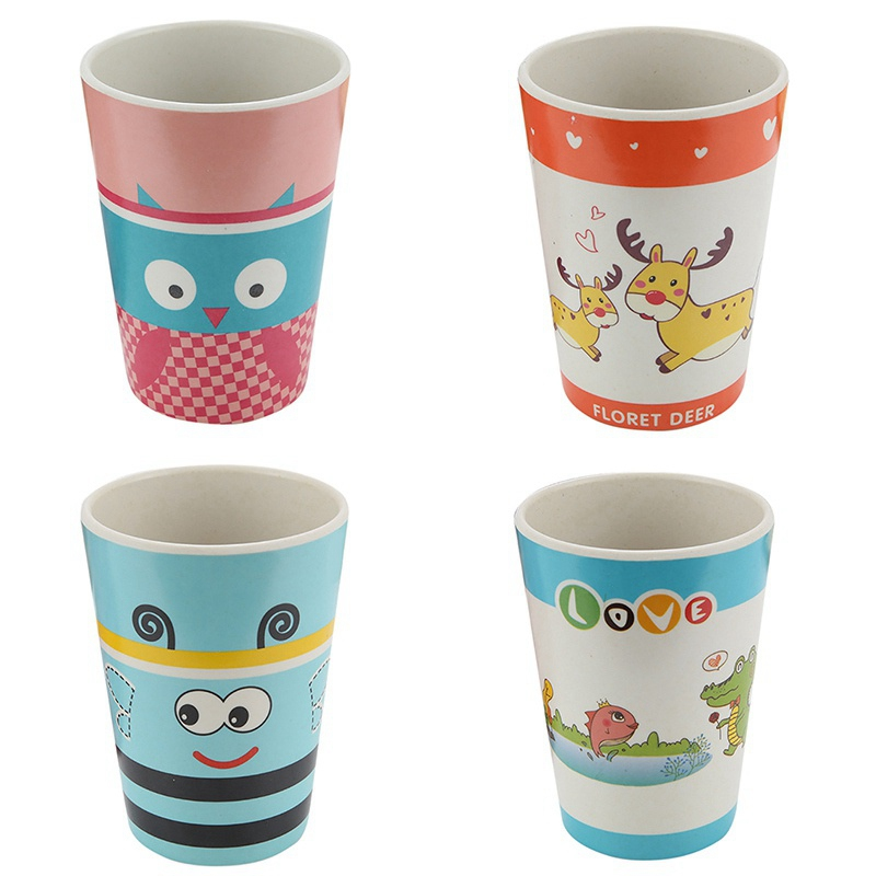 8 ColorsEnvironmental Protection Children's Water Cup Kids Non-slip Cartoon Baby Feeding Mug Bamboo Fiber