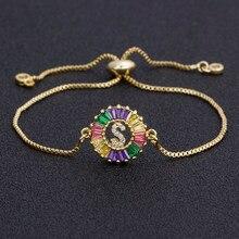 2020 A-Z pierwsza litera bransoletki złoto/kolorowe/różowe złoto 4 kolor do wyboru regulowany łańcuszek bransoletka kobiety najlepsza biżuteria prezent