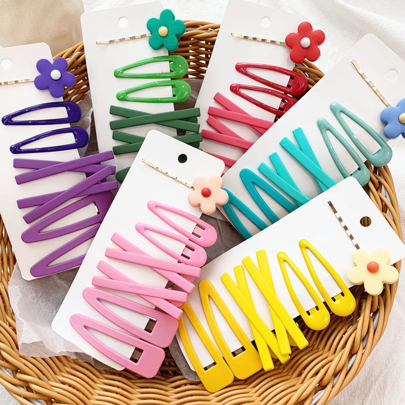 7PCS/Set INS Women Girls Candy Colors Flower Geometric Hair Clips Sweet Hairpins Headband Barrettes For Girls Hair Accessories
