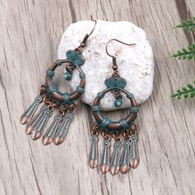 Ethnic Antique Copper Plated Green  Round Tassel Charm Pendant Earring Dangle Drop Bohemian Women Jewelry Gift green bohemian style colorful water drop crystal tassel long dangle earring