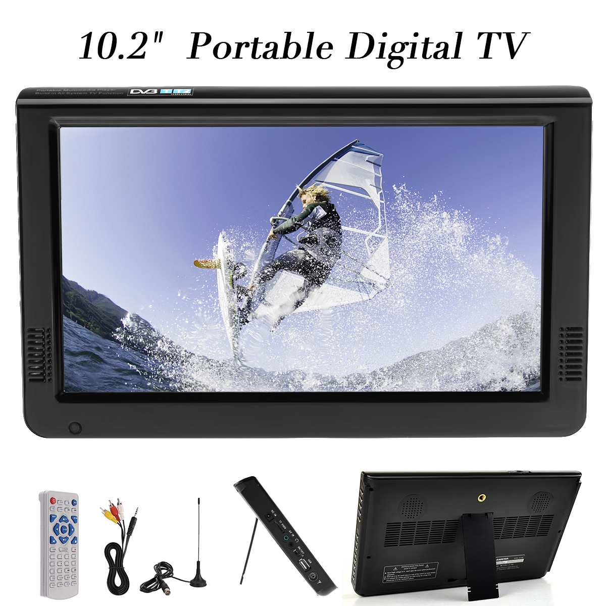 10.2 Inch 12V Outdoor Portable Digital Analog Television DVB-T / DVB-T2 TFT LED HD TV Support TF Card USB Audio Car Television