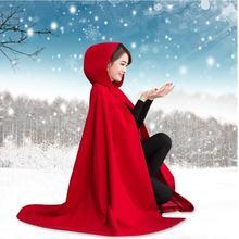 """Осень зима женские накидки красное пончо с капюшоном шерстяное пальто длинный плащ """"летучая мышь"""""""
