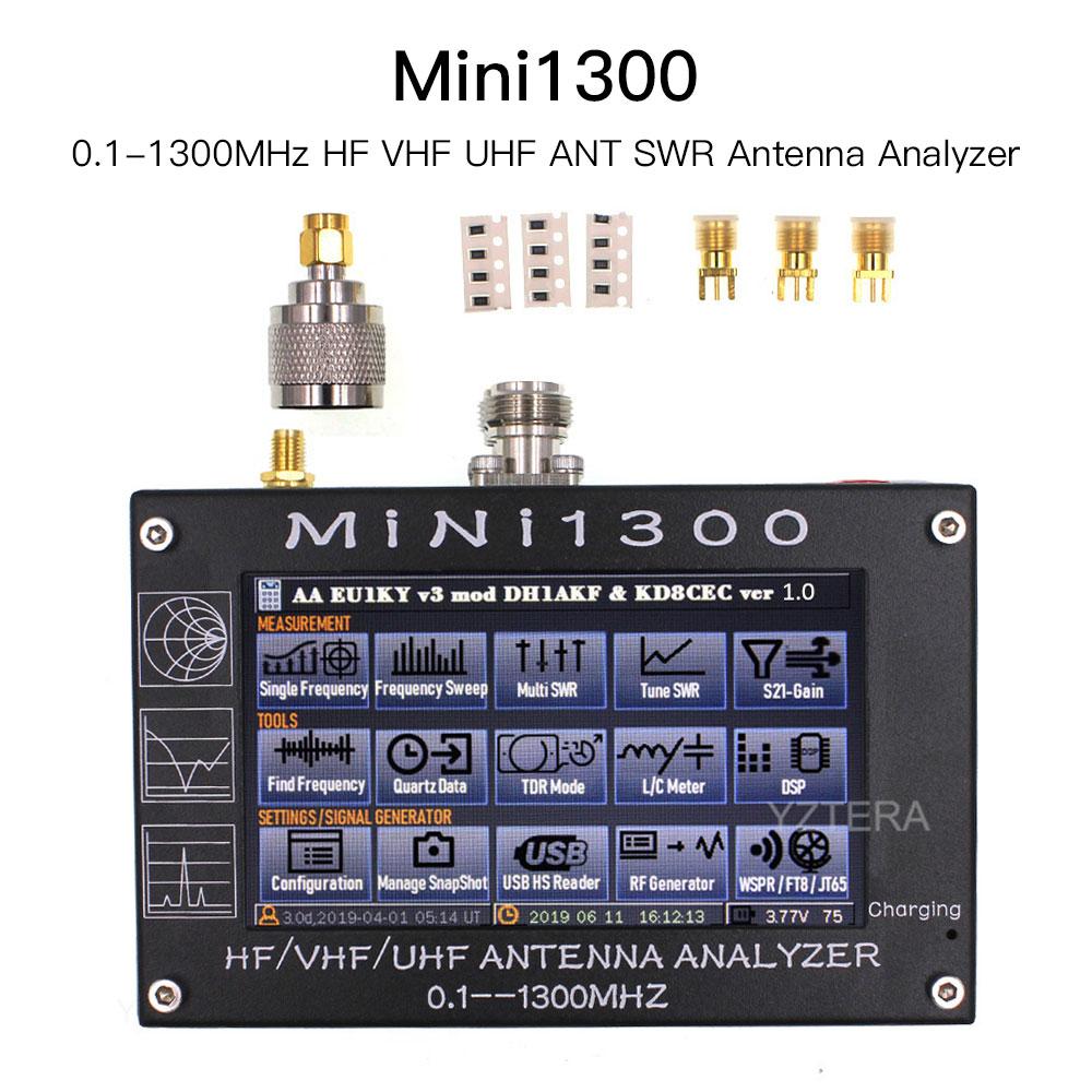 New Upgrade Mini1300 0.1-1300MHz HF VHF UHF ANT SWR Antenna Analyzer 4.3inch Touch Screen