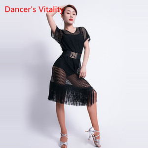 Image 2 - Ballo latino Vestiti di Prestazione Femminile di Usura New Sexy Scollo A V Abbigliamento Pratica Hollow di Formazione Latino Nappa Orli Del Vestito