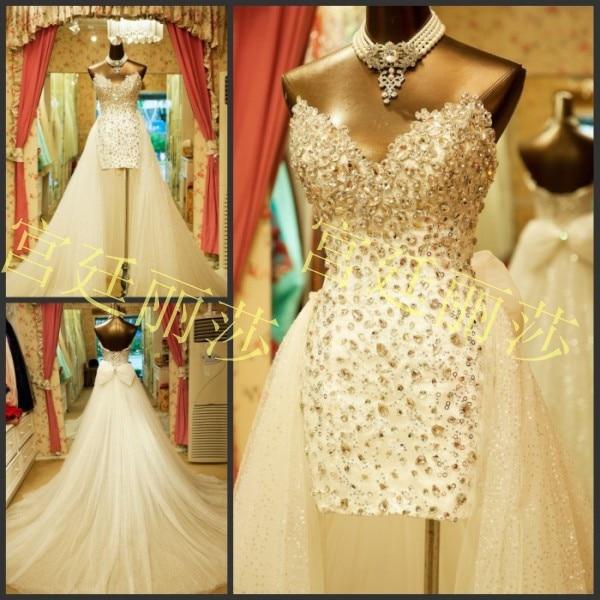 Custom Floor Length Sweetheart Crystal Beaded Bridal Gown Vestidos Casamento Detachable Skirt 2018  Mother Of The Bride Dresses