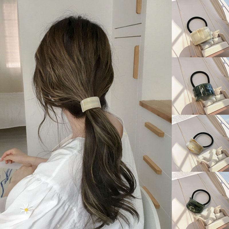 Резинка для волос в стиле ретро из ацетата с матовой текстурой древесины, блестящие красивые геометрические резинки для волос, эластичная р...
