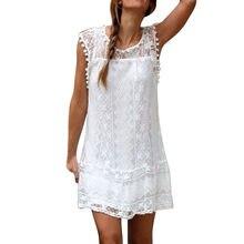 2021 kobiet biała Sukienka swobodna koronka bez rękawów krótka Sukienka plażowa sukienki w stylu boho Tassel Mini sukienki Sukienka Damska Vestido