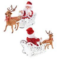 2020 электрический автомобиль Санта-Клауса с музыкой, детская Рождественская электрическая игрушка, кукла, домашний декор, подарки, милый Рож...