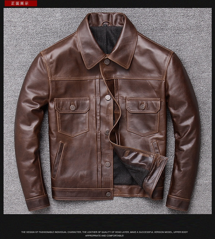 Classic Casual Brown Plus Size Cowhide Jacket Men Genuine Coat Short Vintage Style Leather Outwear