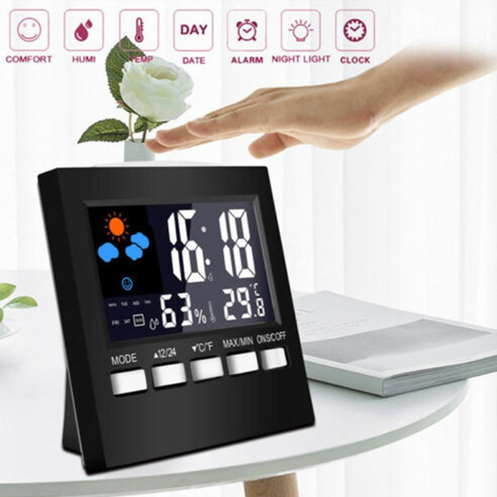 LED Digital Projection Alarm Clock Temperature Thermometer Desk Date Display Projector Calendar Snooze Function Alarm Clock