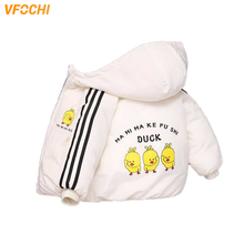 VFOCHI New Boy Girl Down Coats 3 Color Kids Winter Jacket Duck Pattern Snowsuit Unisex Thick Hoodie Outwear 2-8Y