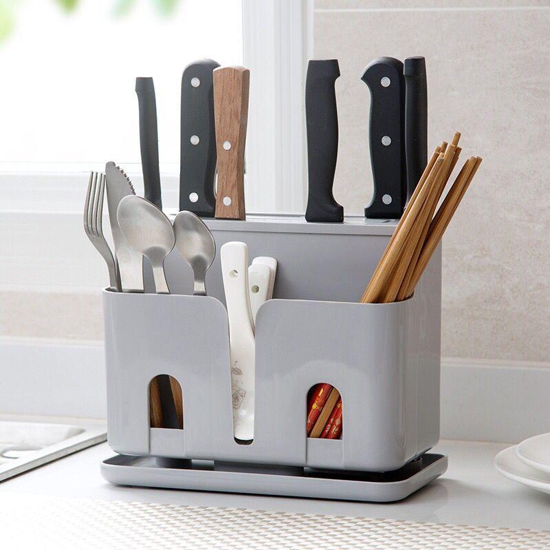 Knife Block New Multifunction Knife Holder Plastic PP Block Dividing Grid Barrel Cage Cutlery Holder Stand For Knives Kitchen