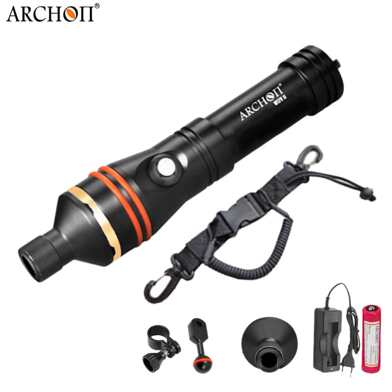 Купить с кэшбэком ARCHON D11V-II D11V w17v-ii w17v Diving Flashlight Underwater Spot Light Tauchlampe XM-L2 U2 Photography Video Lamp Torch 18650