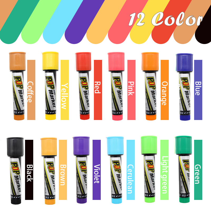 12 Colors Marker Pen Poster Pen Art Advertising Pens Color Paint Alcohol Fiber Tip POP Graphic Sketch Pen 20mm 30mm Art Supplies