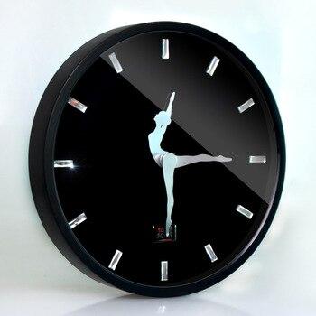 Балетные настенные часы для танцев, декоративные часы для девочек в современном дизайне, скандинавские настенные часы с металлической рамк...